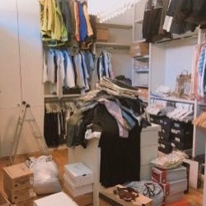 Before closet organization in West University Place