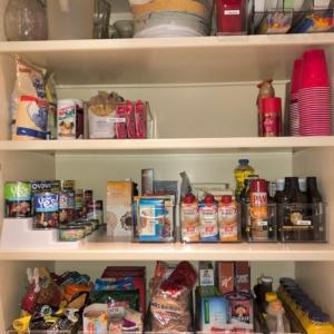 Deep pantry bins used for deep pantry