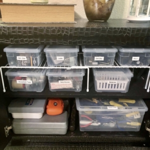 Tools organized in cute cabinet
