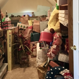 Attic storage before organizing
